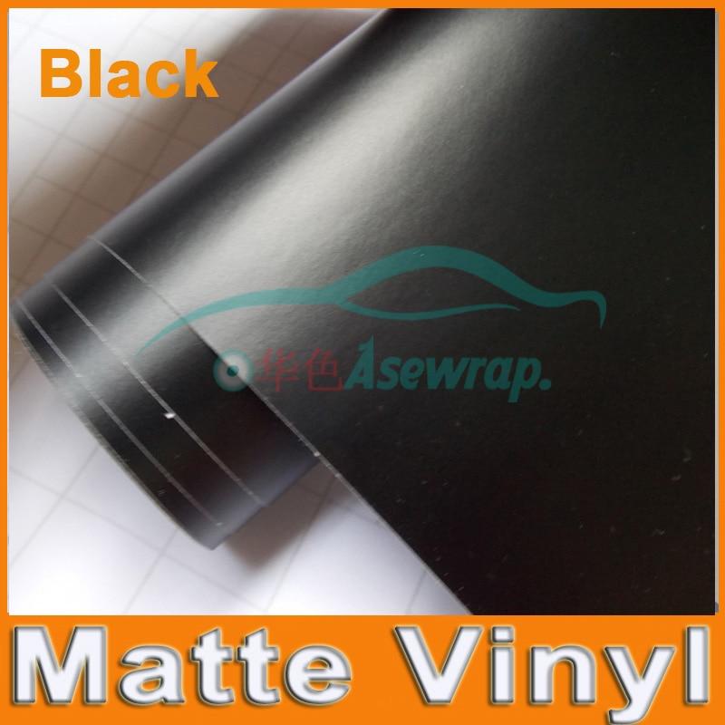 Премиум черный цвет матовая поверхность Винил Автомобиля Обертывание s Авто атласная матовая черная пленка для оклейки машины пленка автомобиля стикер с разным размером/рулон - Название цвета: Черный