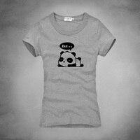 1 פנדה חמודה ניו נשים מקרית Slim פאטאל גרפי מודפס שרוול קצר חולצות טריקו טי קיץ O-צוואר כושר Camisetas Mujer
