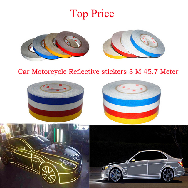 2016 Car Styling  freeshipping DIY car 3M Motorcycle Reflective Stickers Automobile Warning Tape Change Color Creative sticker