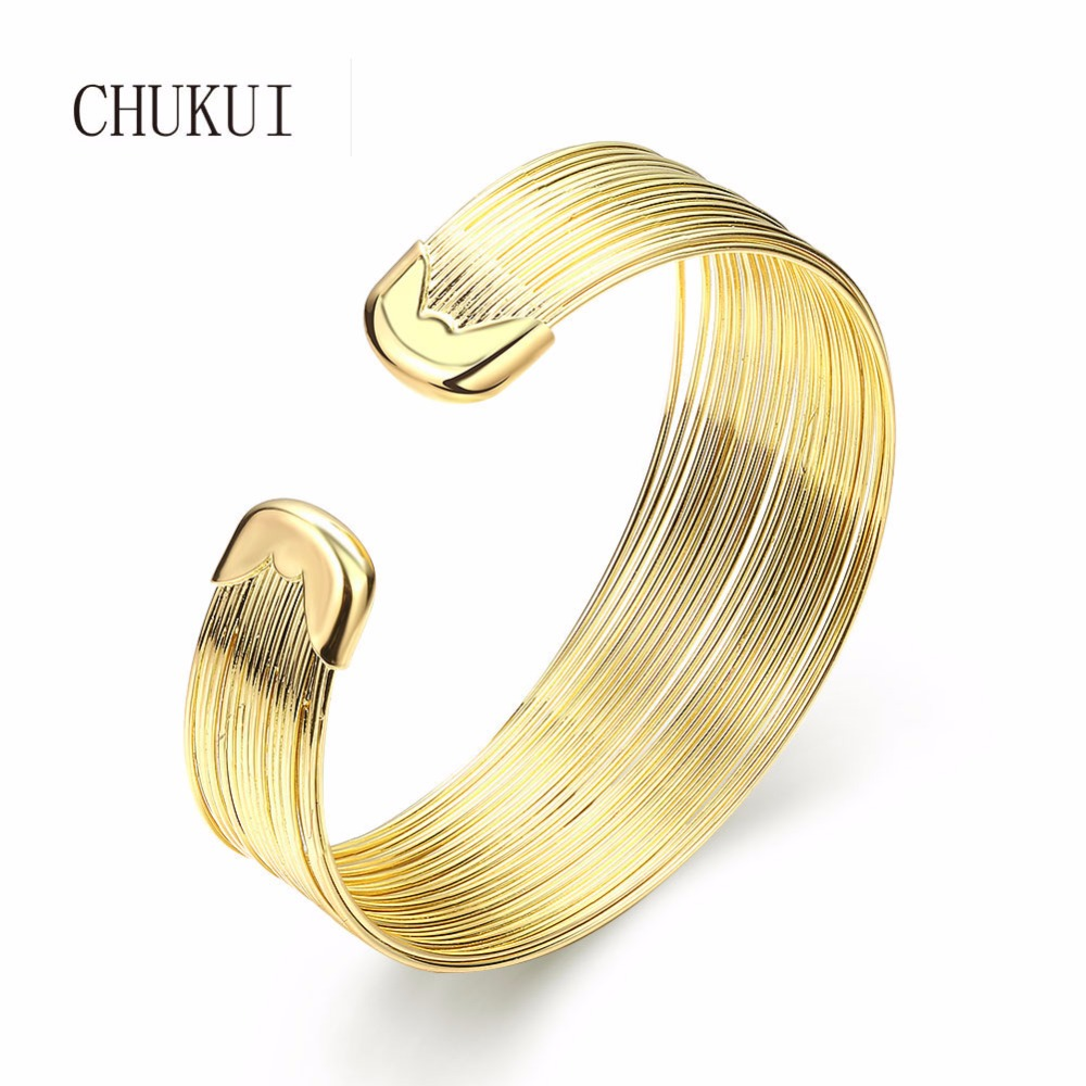 все цены на CHUKUI cuff bracelets bangles for women brass copper open cuff bangle bracelet gold bracelts wide cuffs