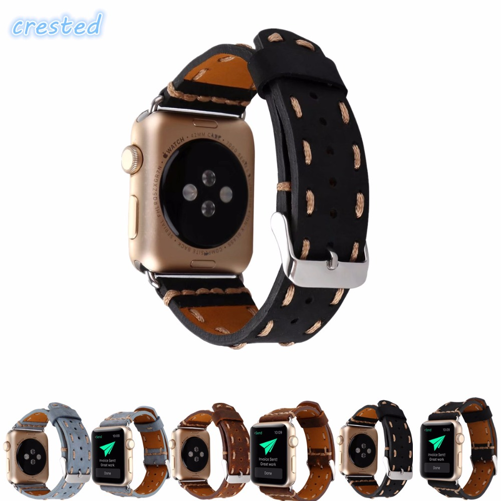CRESTED weave Genuine Leather Watch Band Strap For Apple Watch Band 42 mm/38 wrist watch replacement band for iwatch 2 1CRESTED weave Genuine Leather Watch Band Strap For Apple Watch Band 42 mm/38 wrist watch replacement band for iwatch 2 1