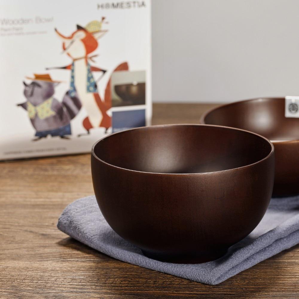 Wooden Dining Bowls ~ Natural hand made matten thermal anti shock bowls kitchen