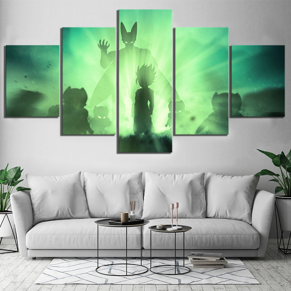 5 Piece Dragon Ball Z Gohan Vs Cell Anime Poster Canvas Paintings for Home Decor Abstract Art Cartoon Paintings 1