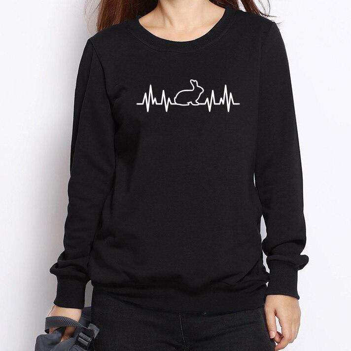 2017 Rabbit Heartbeat Lifeline Women Hoodies Harajuku Casual Funny Sweatshirts For Lady Girl Tops Pullovers