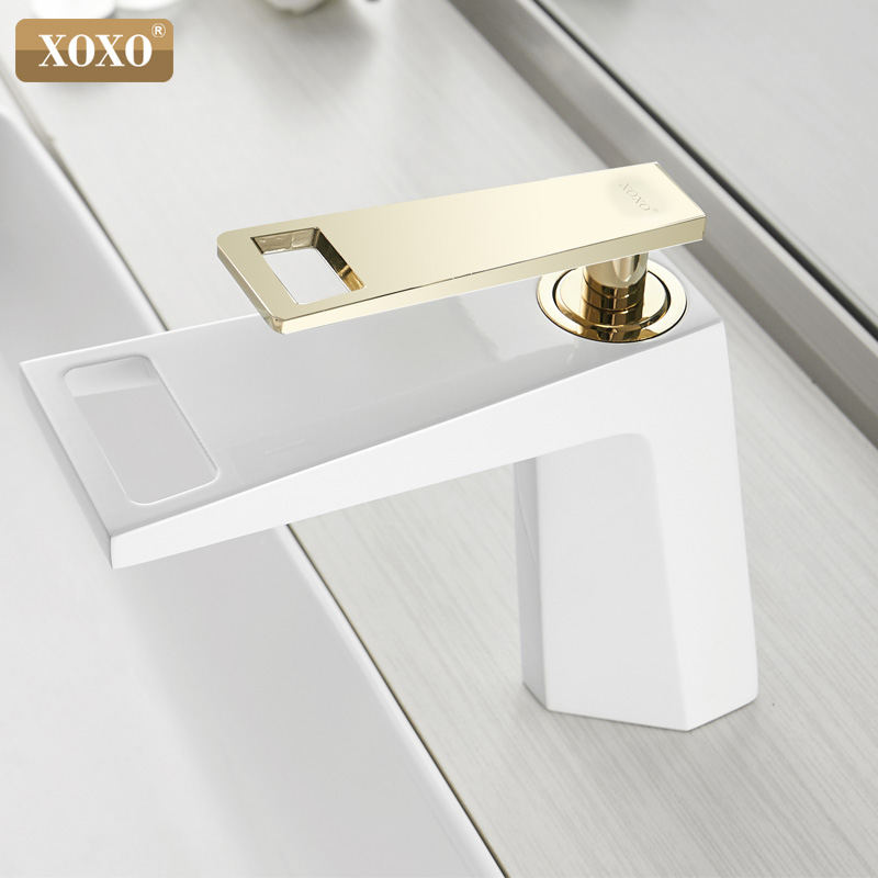 Image 5 - XOXO black white bathroom basinfaucet Hollow shape bath Waterfall faucets single handle water mixer tap 80015-in Basin Faucets from Home Improvement