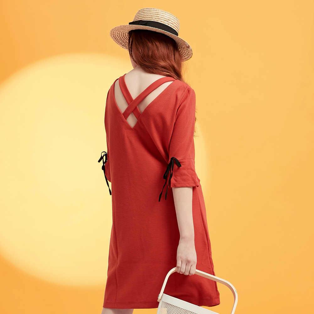 Metersbonwe kadın moda OL resmi elbise kadın kızlar marka yeni varış seksi hollow-out siyah kırmızı V boyun elbise