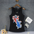 Fashion The landscape pattern vest rhinestone Tank top Women cotton 95% Hand beading O neck brand singlet top girls sexy elegant