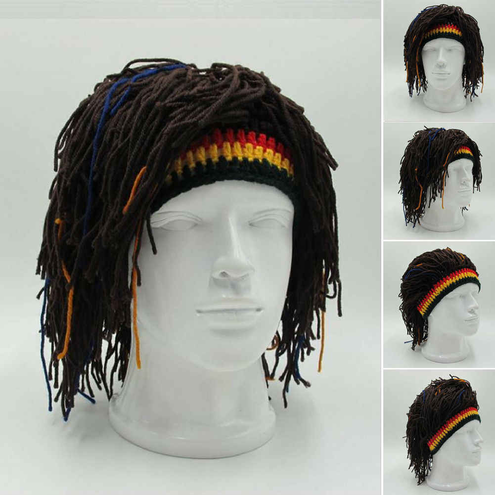 1Pc Bob Marley Reggae Jamaican Rasta Hat Dreadlocks Wig Caribbean Beret Cap Beret Dress Apparel Accessories Fashion Style New