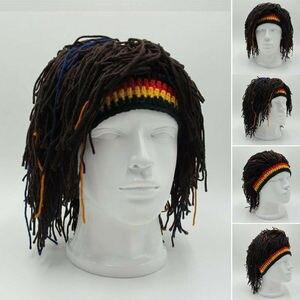 1Pc Bob Marley Reggae Jamaican Rasta Hat Dreadlocks Wig Caribbean Beret Cap Beret Dress Apparel Accessories Fashion Style New(China)