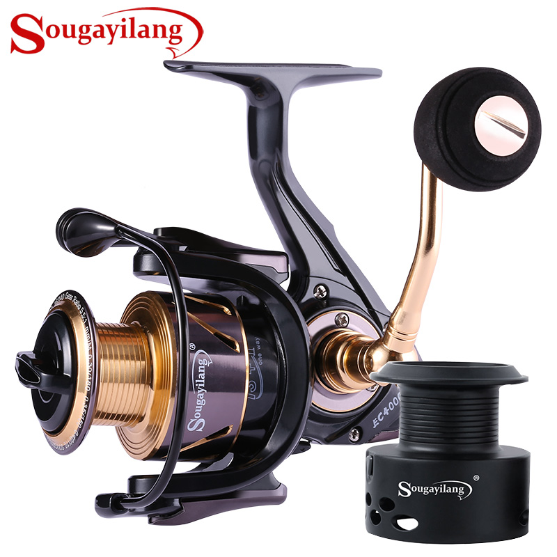 Sougayilang Fishing Reel 13+1BB Light Weight Ultra Smooth Aluminum Spinning Fishing Reel With Free Spare Graphite Spool De Pesca