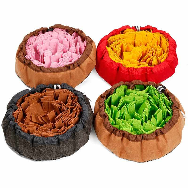 Interactive Pet Dog Toys Round Pet Sniffing Pad Washable Training Blanket Feeding Mat Piecing Multi-color Dog Toys