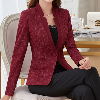 Autumn new fashion collar temperament Slim small suit womens jacket a button Blazers casual S-5XL large size