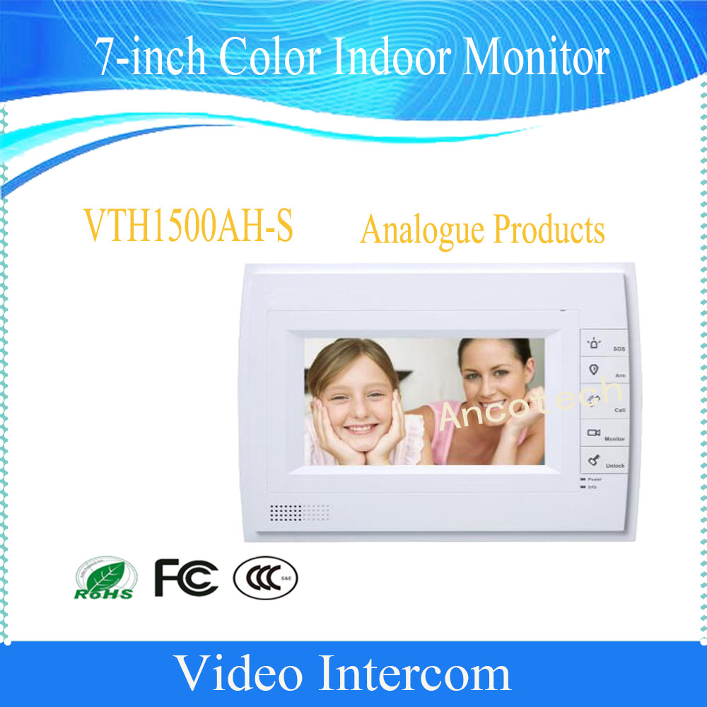 Free Shipping DAHUA Video Intercom 7inches Color Indoor Monitor Original English Version without Logo VTH1500AH-S
