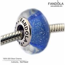 Cenicienta Azul Fluorescente Encanto 2016 de Plata de Ley 925 de Joyería de Perlas de Cristal de Murano Joyería Adapta CKK Fandola Encantos Pulsera