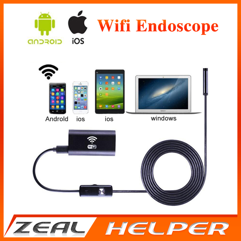 bilder für Wifi Endoskop Kamera 8mm objektiv 5 mt Kabel Schlange Rohr inspektion HD720 Kamera Android Iphone Smartphone unterwasserkamera angeln