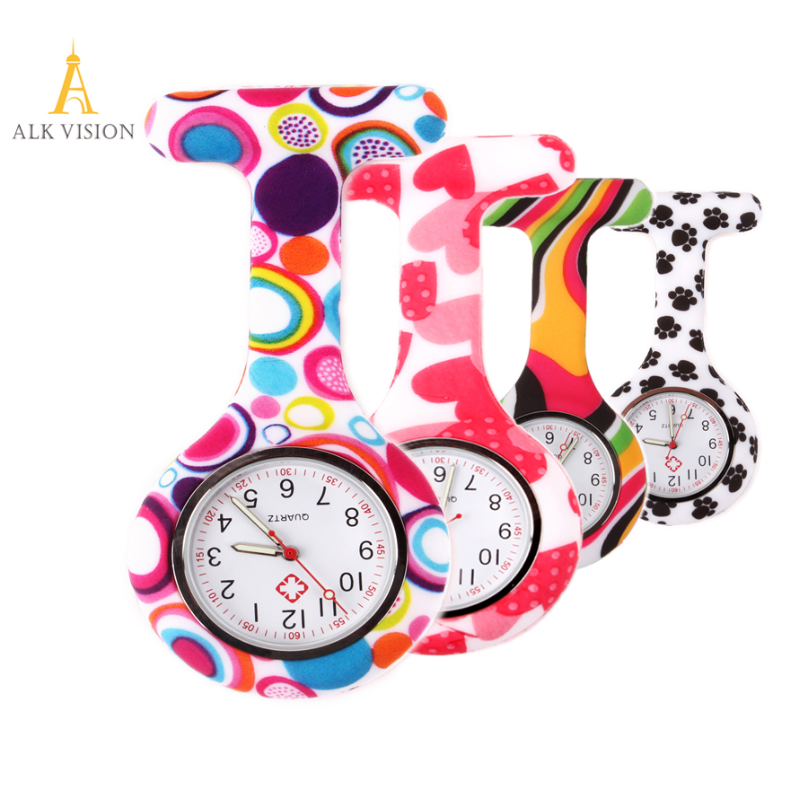 FOB Silicone nurse watch doctor nurse gift butterfly pattern Japanese movt high quality brand hospital nurse watch ALK VISION digital silicone nurse watch fob pocket watch doctor nurse gift timepiece brooch lapel clock brand date week clock alk vision