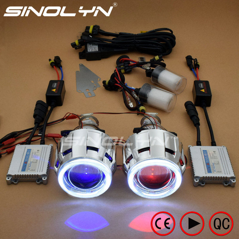Sinolyn Headlight Lenses Angel Devil Eyes Full Kit H4 H7 Bi-xenon HID Projector Automobiles Lens Car Lights Accessories Tuning