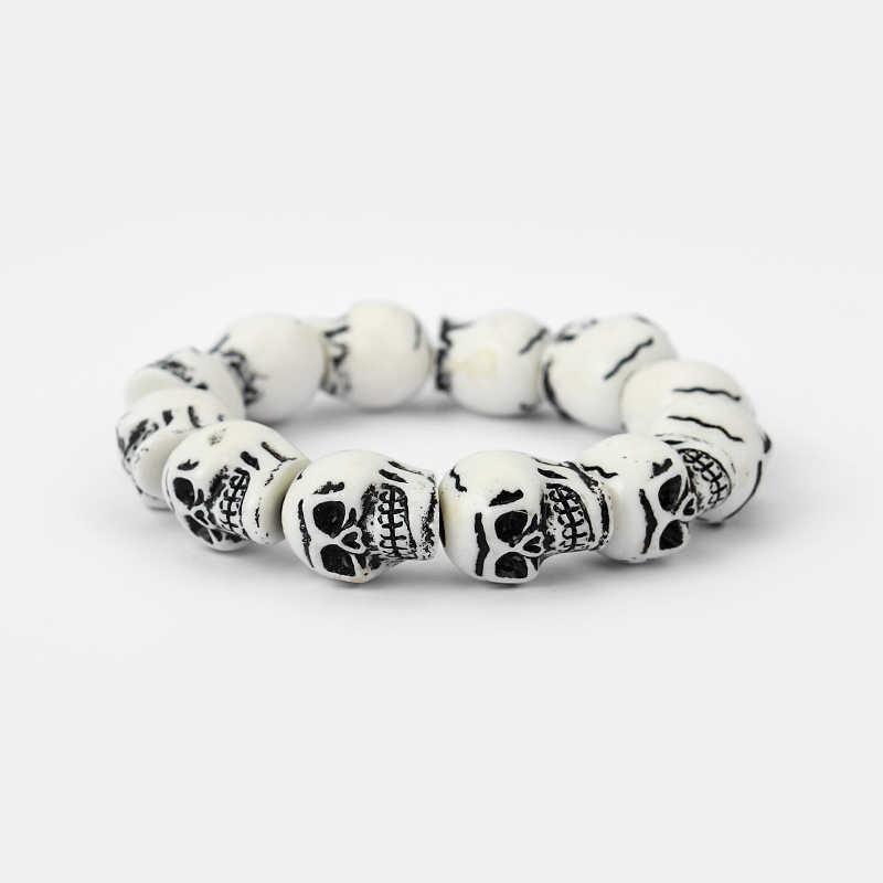 1pcs White/Brown Resin Skeleton Skull Heads Elastic Wristband Bracelet Bangle Fit Men and Women Fashion Jewellery