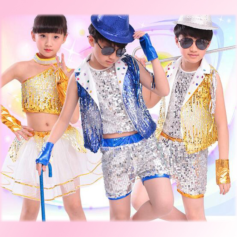 Children ballroom dress Jazz suit with Wristbands boys girls hip-hop clothes size 100-160cm students modern dance wear