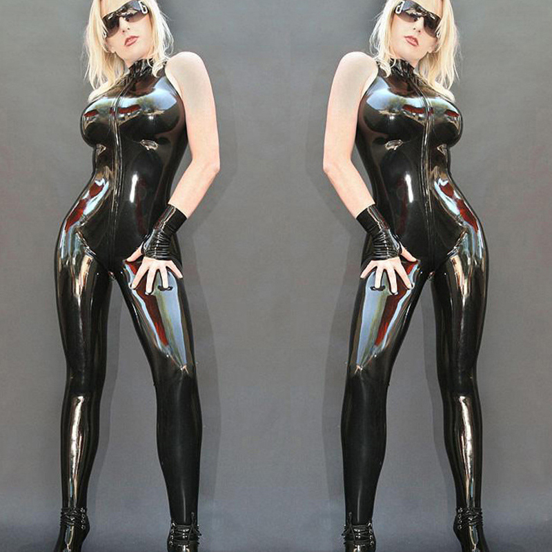 Top High Quality PVC Synthetic Leather Bodysuit Sexy Black Sleeveless With Zipper Catsuit PU Wet Look Jumpsuit Plus Size hot
