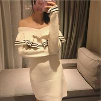 KENVY High End Luxury Brand Women S Slash Neck Ruffles White Elastic Long Knitted Wool Dress