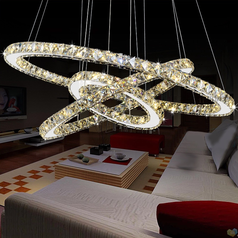 pendant, modern lamp, LED crystal, three head chandelier, personalized ring shaped dining hall, restaurant Chandelier chandelier restaurant three head