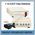 Envío libre 1 en 4 hacia fuera ahd compuesto bnc conector de vídeo amplificador 1-4ch splitter para cctv cámara de seguridad