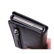 Tarjetero antirobo Vintage para hombre, Tarjetero con bloqueo Rfid, billetera de cuero Unisex, información de seguridad, monedero de Metal de aluminio, moda