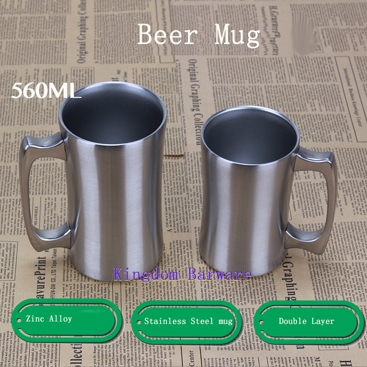 Ice Cold Beer Mug Double Walled Stainless Steel Keep Hot