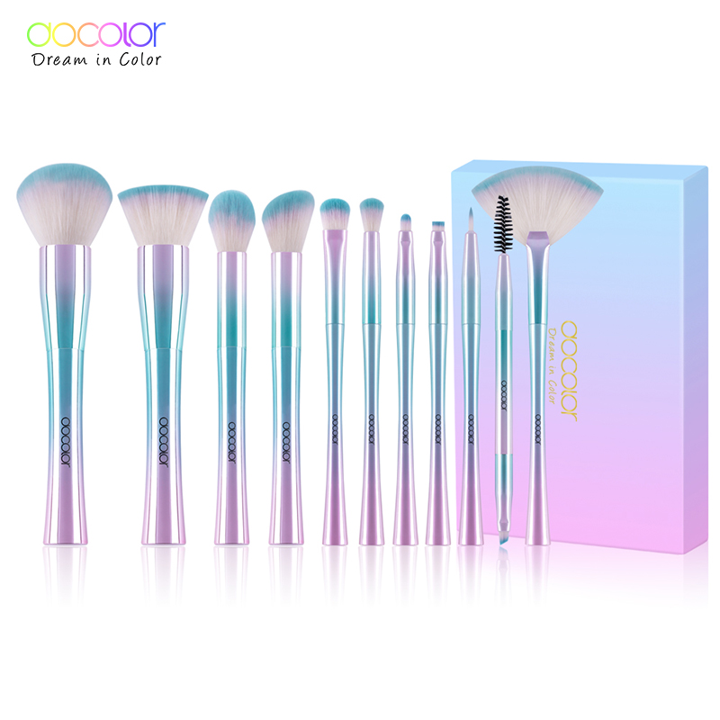 Docolor 11 pz make up brush set Best Regalo Di Natale In Polvere Prodotti di base Ombretto Make Up Pennelli Cosmetici Morbidi Capelli Sintetici