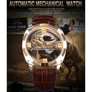 Image 2 - Forsining Double face Transparent doré lunette marron cuir ceinture hommes montre automatique Top marque luxe mécanique squelette horloge