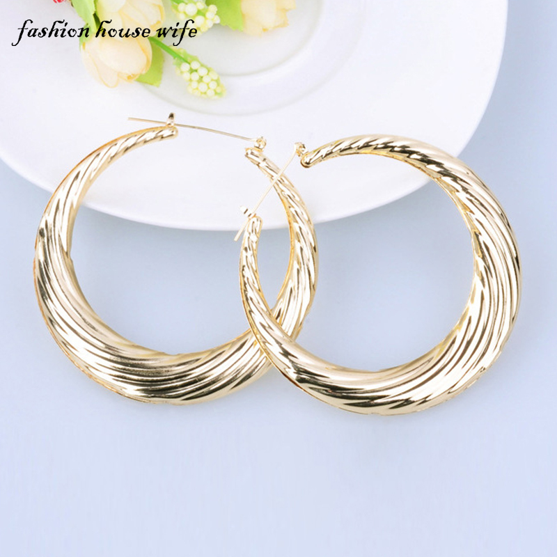 Fashion House Wife Fashion Basketball Wives Hoop Earrings For Women Hiphop Big Large Gold Round Circle Earring Jewelry LE0047