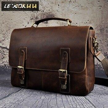 0bfb489a39b1 Men Crazy Horse Leather Retro Designer Business Briefcase Document Laptop  Case Male Fashion