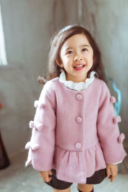 kids girl winter wool coat bow sleeve grey pink color jackets baby girls clothes princess coat jackets thicken cotton outerwear