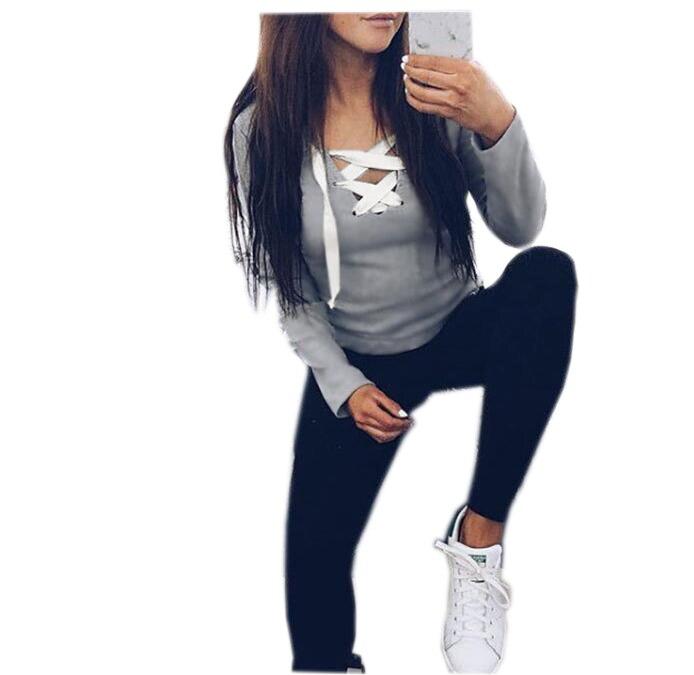 Casual Kawaii Hoodies Sweatshirts 2017 Women Fashion Long Sleeve V-neck Bandage Hoodies Shirts Casual  Women Tops GV371