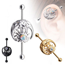 1 Pieces Long Industrial Barbell Fashion 1.6*38*5/5mm Ear Ring Piercing 3 Colors Earrings Piercing Barbell Punk Gothic Jewelry