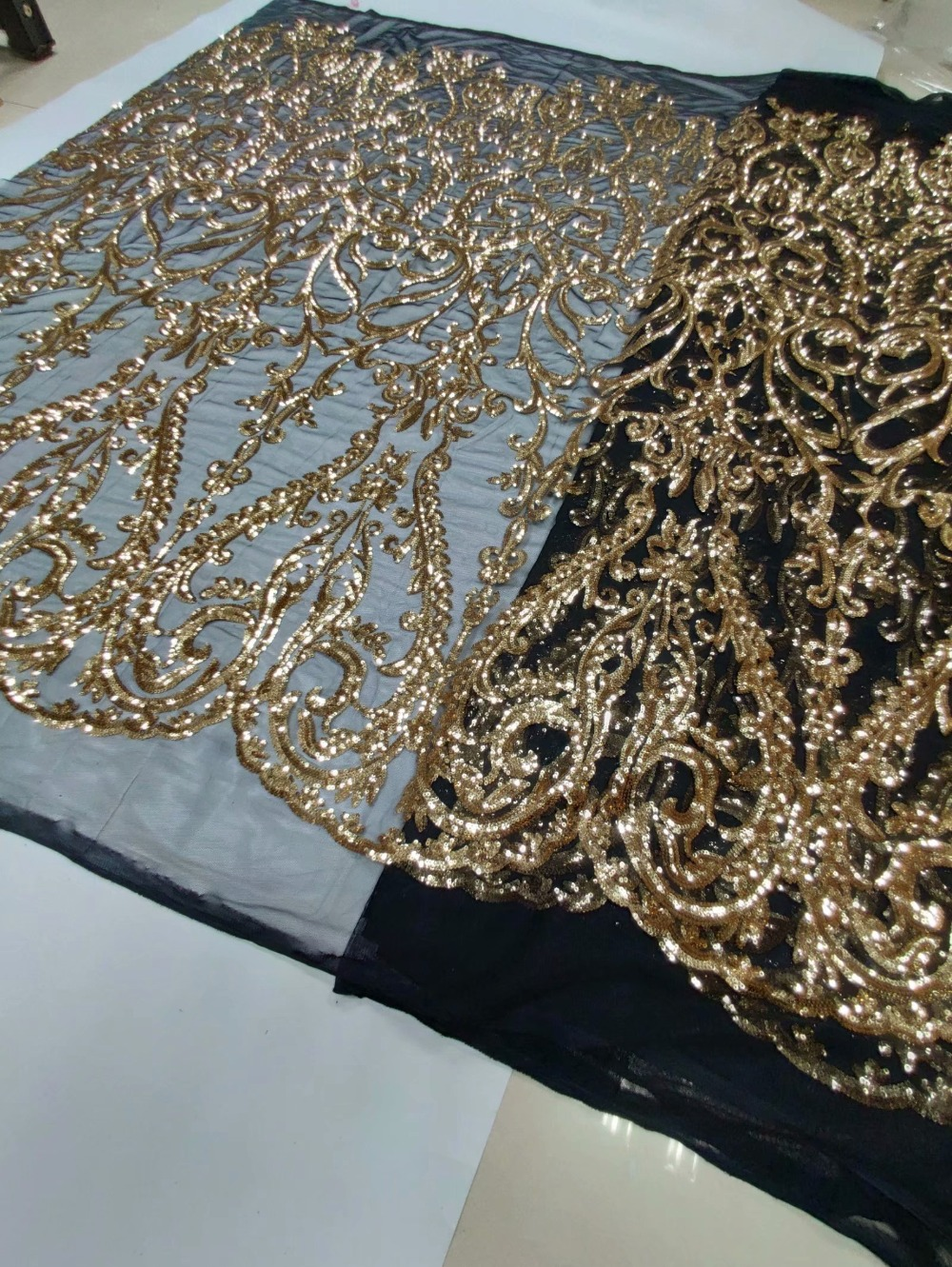 Gold 5 yards Handcut velvet lace African french tulle fabric with many sequins soft shining Black