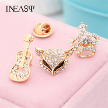 Women's Butterfly Brooch Lapel Pins Crown On The Collar Owl Crystal Drill Corsage Suit Collar Flowers Spider Brooches For Girls
