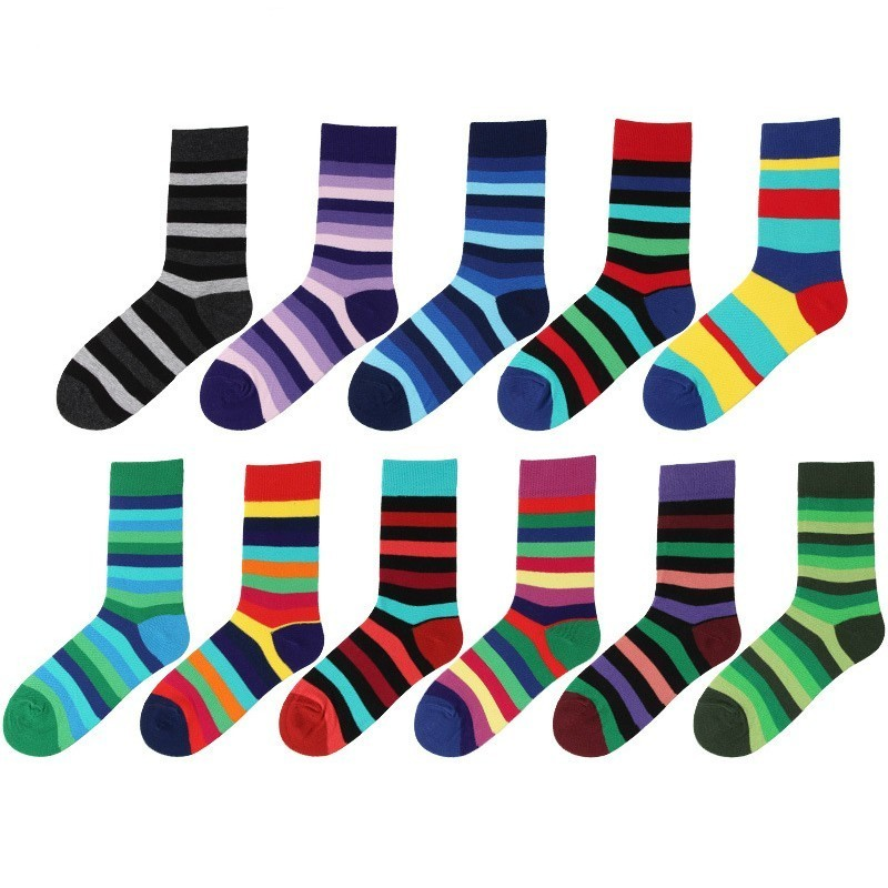 PEONFLY Men's Combed Cotton Socks Casual Happy Socks Colorful Dress Striped Plaid Pattern Comfortable Party Gift Classic Socks