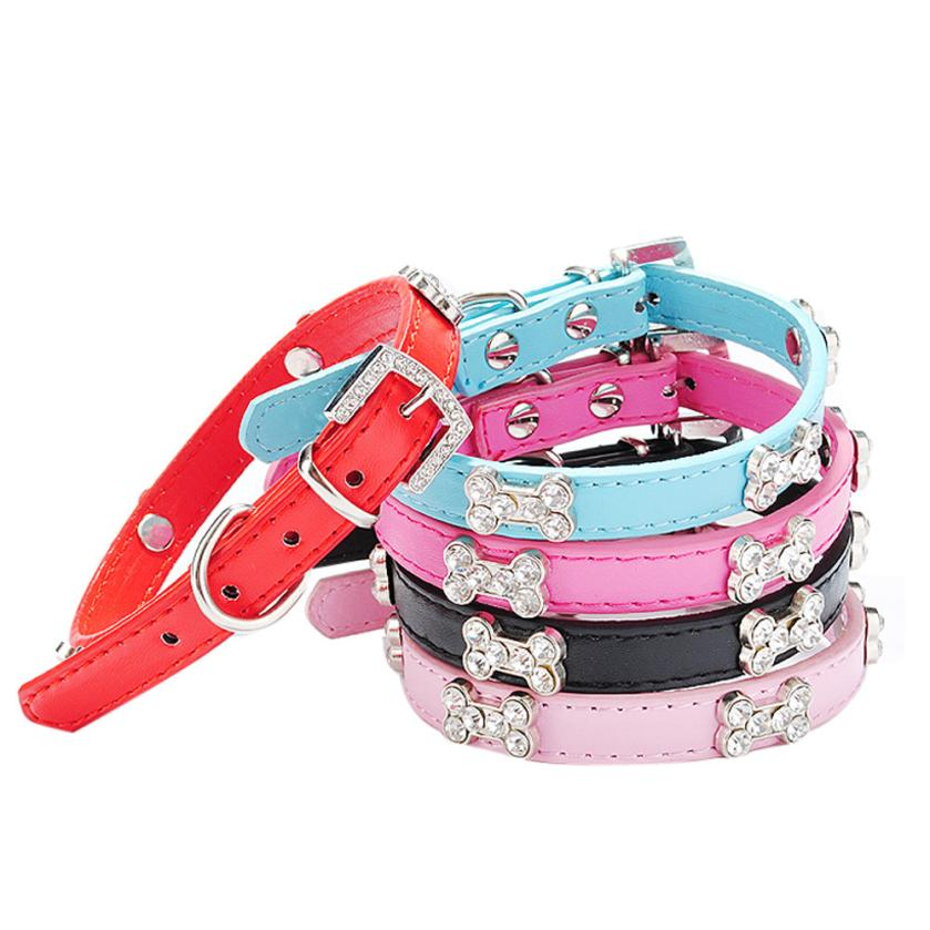 Transer Pet Collars Pu Leather XS S M Dog Collar Bling Crystal With Bone Necklace Pet Puppy Cat Rhinestone Dog Collar 17Dec26