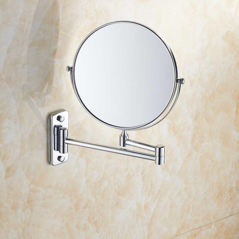 8 Inch Chrome 3X Make Up Pembesar Cermin 2 Sisi Hotel Kamar Mandi Dinding 360 Putar Kosmetik Cermin dengan Memperluas Lengan Upto