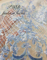 french lace fabric with light blue sequins african wedding bridal dress fabric lace net material