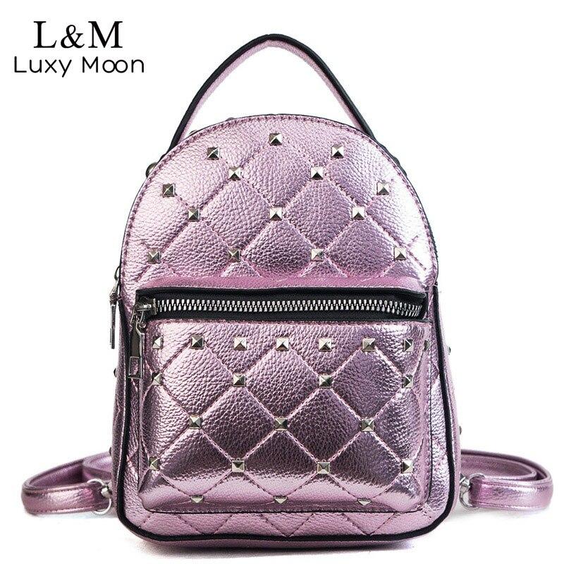 5e53f0b2a13c Женские рюкзаки 2018 модные блестящие повседневные школьные сумки заклепки  сумка PU кожаные рюкзаки женские Mochila Escolar XA481H