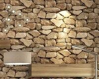 Beibehang Vintage 3d Brick Wallpaper Rock Wallpaper Fake Striped Restaurant Living Room Background Wallpaper Roll