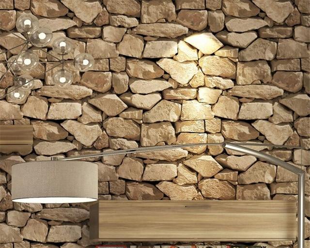 Beibehang Vintage 3d Brick Wallpaper Rock Fake Striped Restaurant Living Room Background Walls