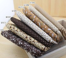 Coffee Floral Series Handmade Plain &Twill Cotton Fabric for DIY Craft Sewing Scrapbooking 50*50cm 7 pcs Free shipping