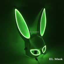 10 farben Optionen Neon Led Rave Maske Frauen Nacht Club Sex EL Draht Maske Bunny Cospaly Glowing Maske(China)