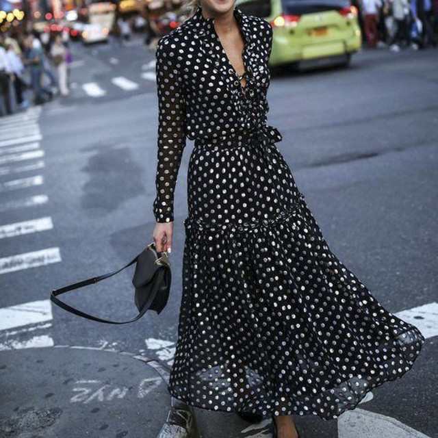 Fashion Women Sexy polka Dot Split dresses ladies Deep V-neck Long Sleeve maxi Dress vestido Black and white