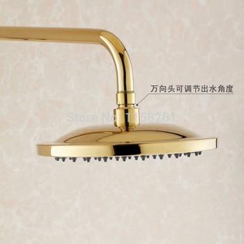 Vidric Shower Faucets Luxury Gold Brass Bathroom Shower Mixer Faucet Set Rain Shower Head Round Wall Bathtub Faucet Handheld