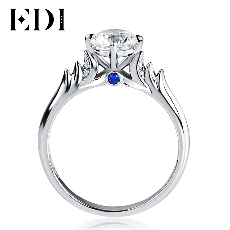 EDI Distinctive 1CT Moissanite Swan Fairy Tales 10K White Gold Lab Grown Diamond Ring For Women Fine Jewelry Halloween Gifts moissanite pendant 18k 750 white gold lab grown moissanite diamond pendant drop bezel necklace chain for women jewelry